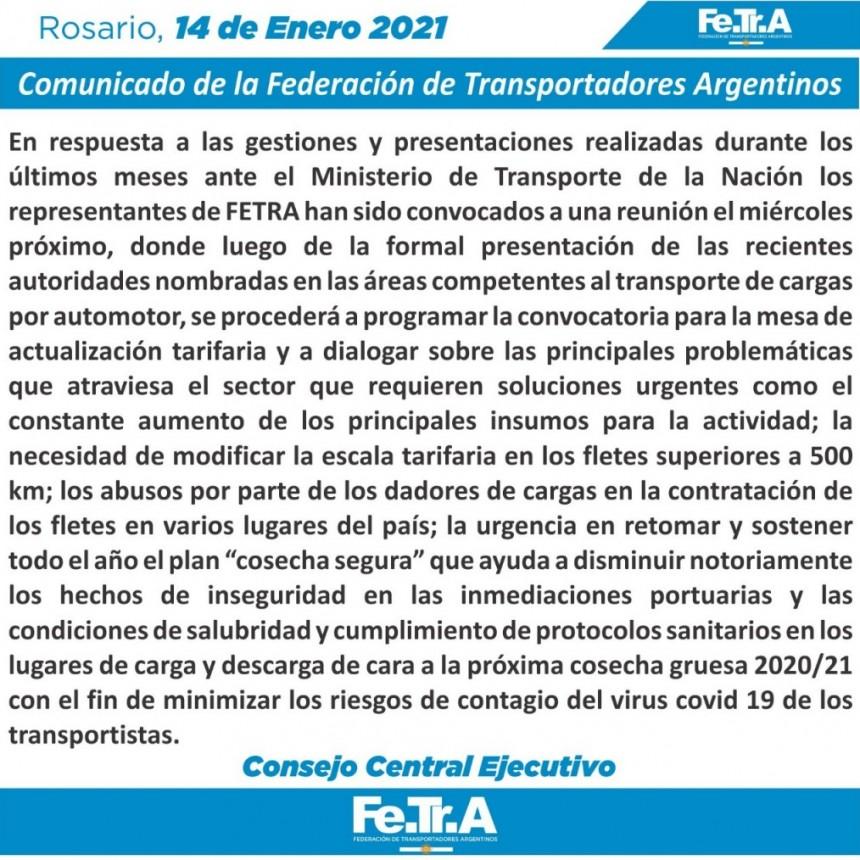 Comunicado de la Federación de Transportadores Argentinos