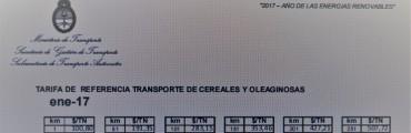 TARIFA NACIONAL PARA EL TRANSPORTE DE CEREALES.