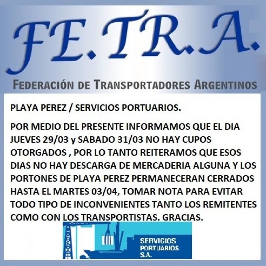 Servicios Portuarios informa sobre situación Playa Perez