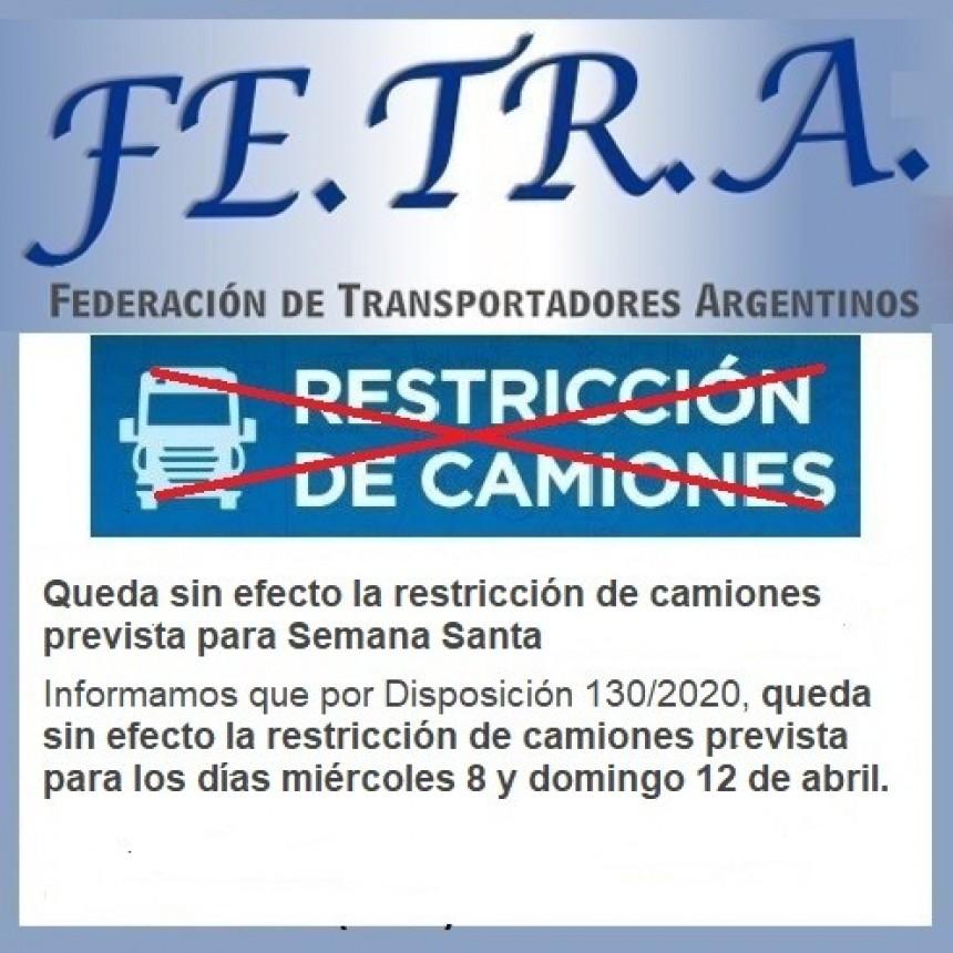 Restricción horaria a la circulación de Camiones.
