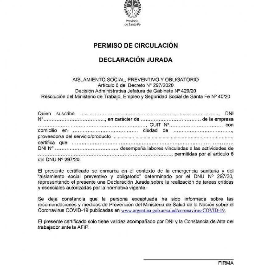 Permiso de Circulación Declaración Jurada para todos los transportistas que circulen en el territorio de la Provincia de Santa Fe (También es necesaria para transportistas de otras Provincias).