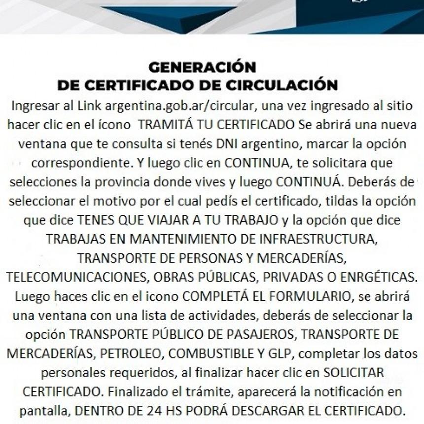 GENERACIÓN DE CERTIFICADO DE CIRCULACIÓN.