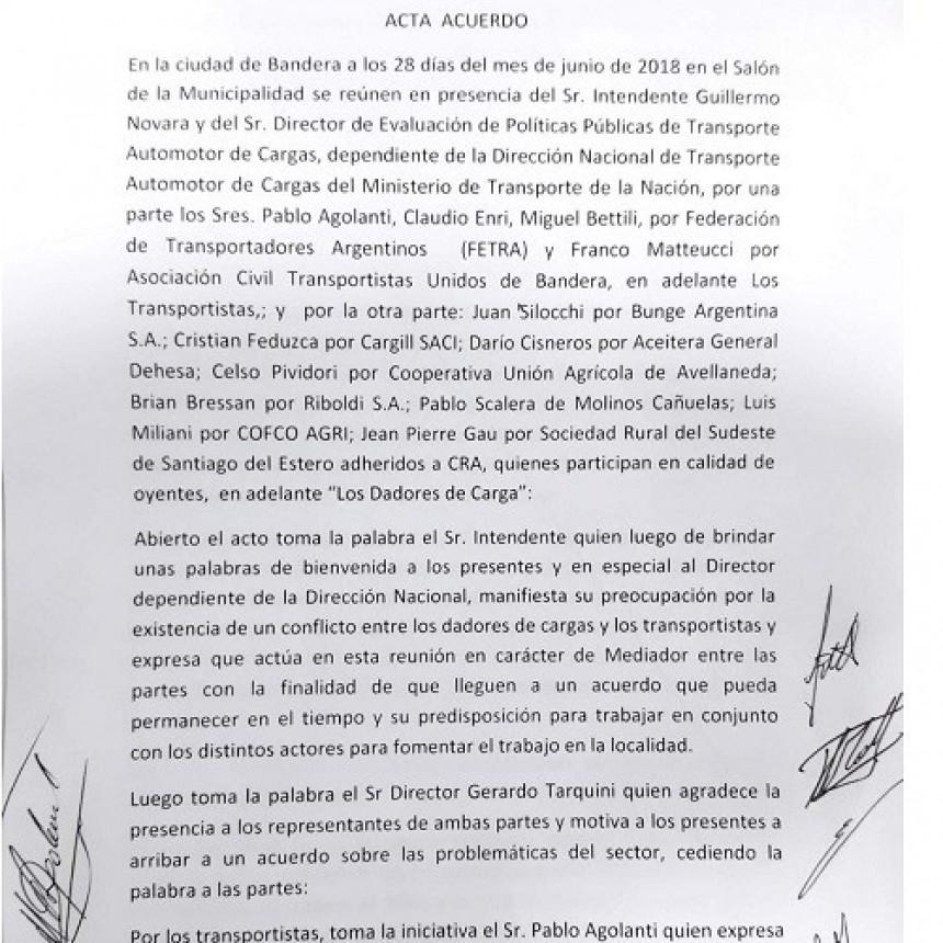 Acta acuerdo por Tarifa en la Provincia de Santiago del Estero.