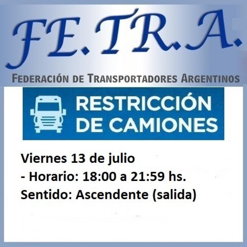 Restricción a la circulación de Camiones,