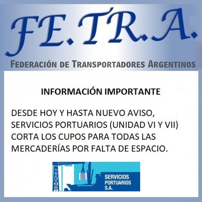 INFORMACIÓN IMPORTANTE DE SERVICIOS PORTUARIOS.