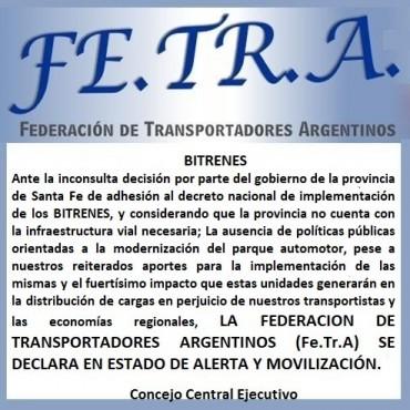 Fe.Tr.A EN ESTADO DE ALERTA Y MOVILIZACION.