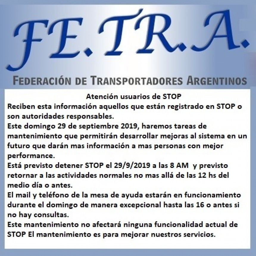 INFORMACIÓN PARA USUARIOS DEL STOP