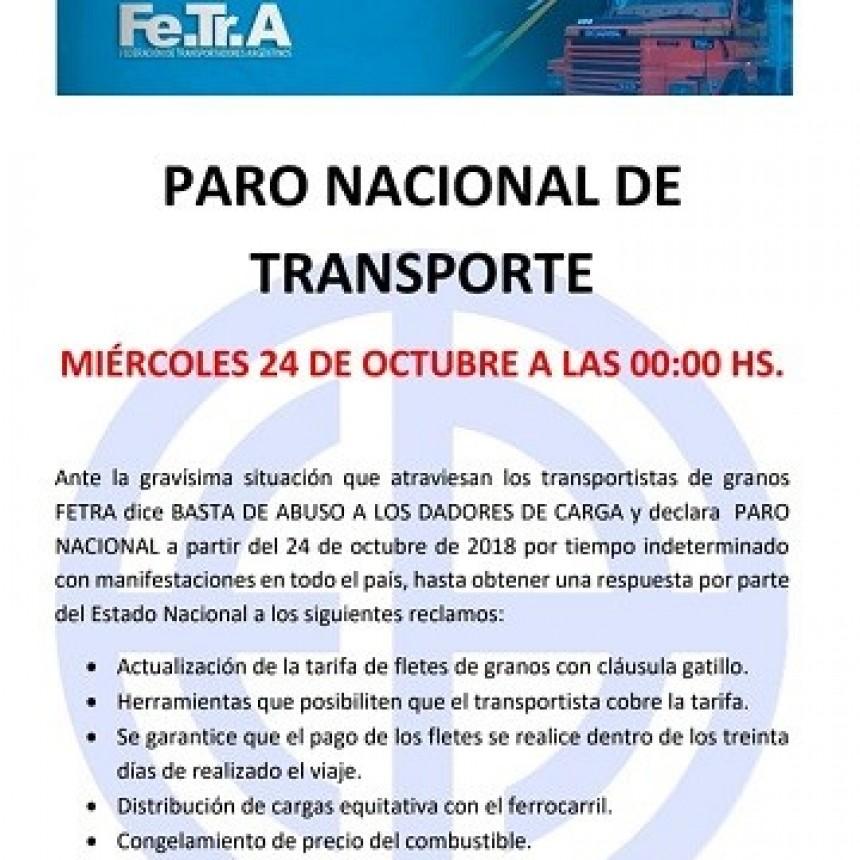 24 DE OCTUBRE, PARO NACIONAL DE TRANSPORTE DE GRANOS