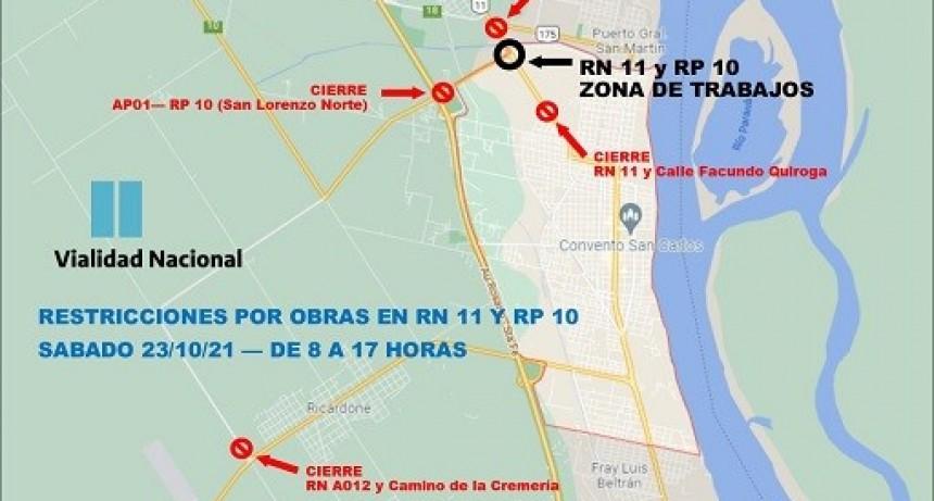 INFORMACIÓN IMPORTANTE, nuevos arreglos de vialidad nacional en RN 11 y RP 10 en San Lorenzo.